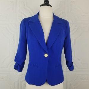 XOXO Cobalt Blue Ruched Sleeve Blazer Jacket